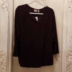 Chico's Dk. Chocolate 3/4 sleeve top size 3
